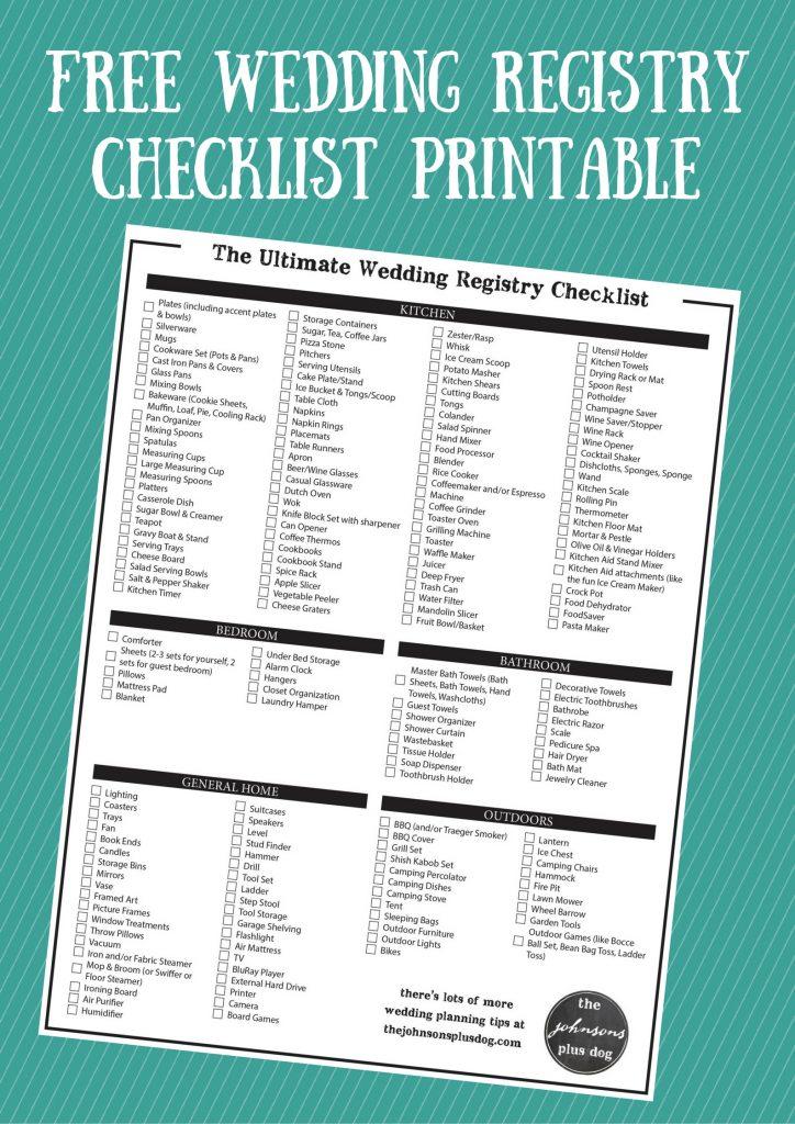 Wedding registry checklist the ultimate wedding registry checklist free printable junglespirit Gallery