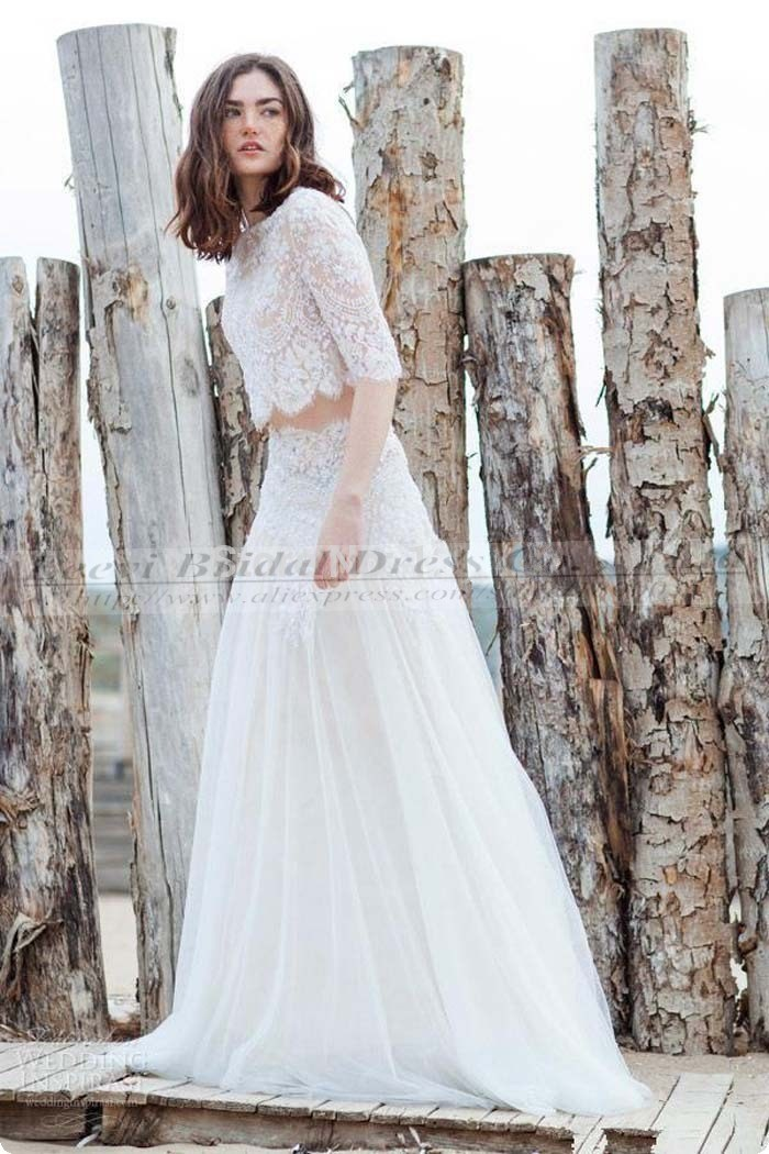 Two Piece Lace Wedding Dresses