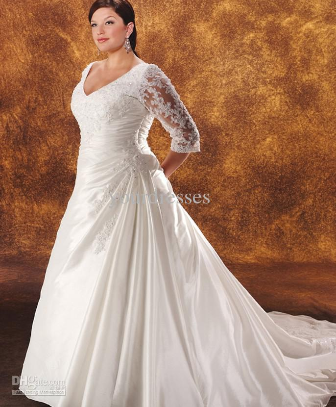 Size Vintage Wedding Dresses With Sleeves