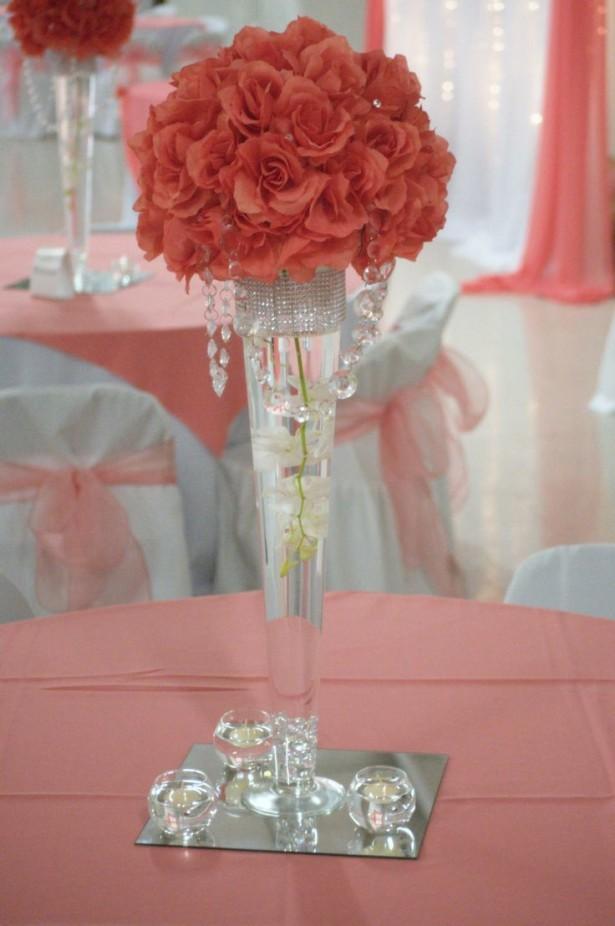 Fabulous Coral Colored Wedding Centerpieces BQ07