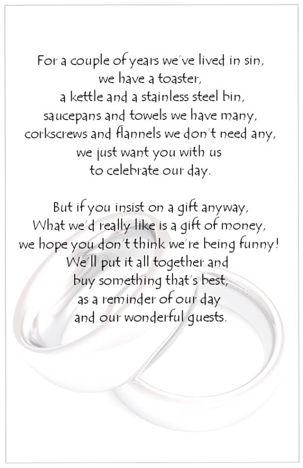 Cash For Wedding Gift Poems : Wedding Poems Money Instead Of Gifts Picture Ideas With Wedding