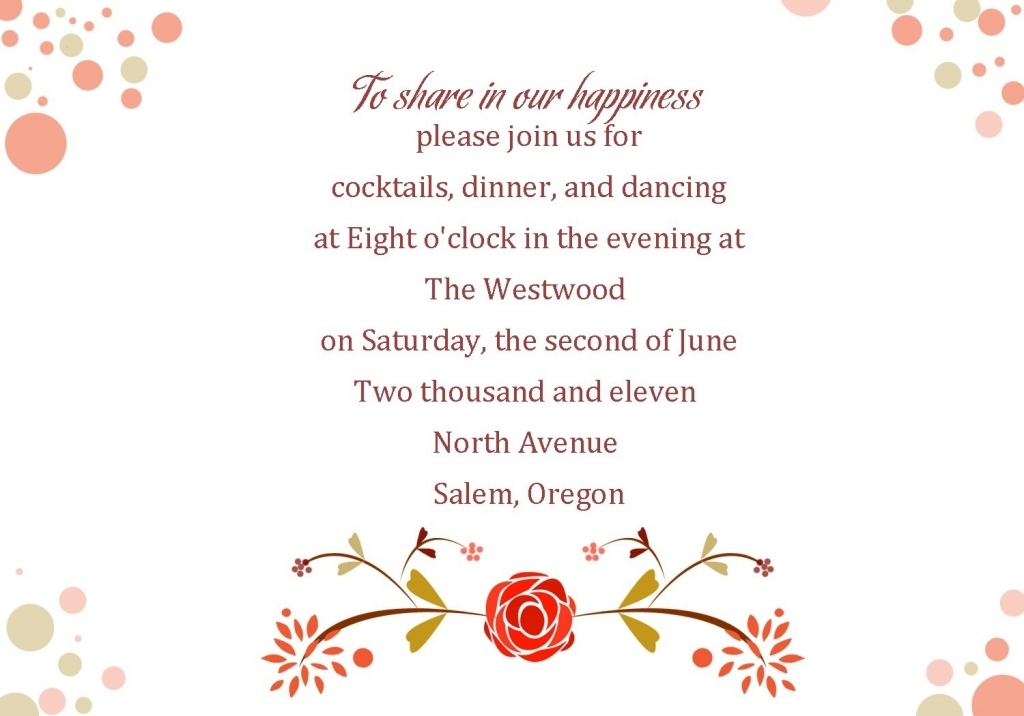 Wedding reception invitation wording stopboris Choice Image