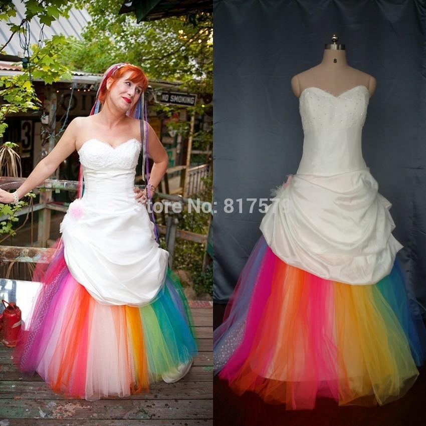 Rainbow Tulle Wedding Dress