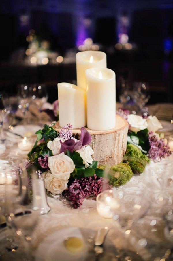 Ideas for decorating wedding reception tables peachy 10 wedding wood led candles and purple flowers winter wedding table decor junglespirit Choice Image