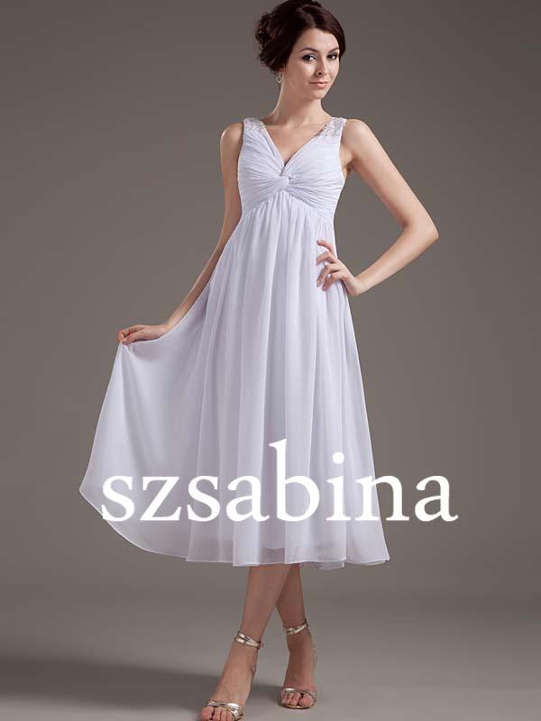 Wsa03 White Empire Waist Chiffon Tea Length A Line Wedding Dress Simple Patterns
