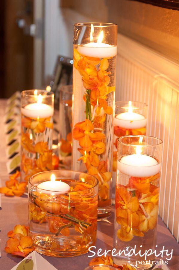 Orange flower centerpieces wedding