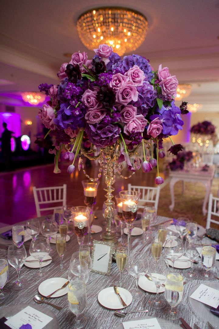 Plum colored wedding centerpieces
