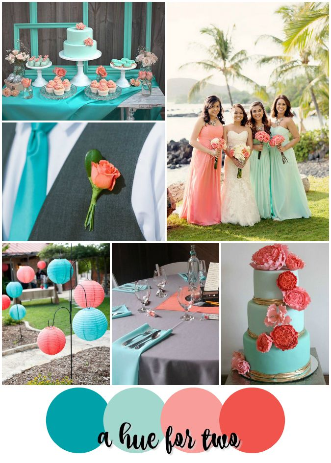 Teal And Peach Wedding Decorations