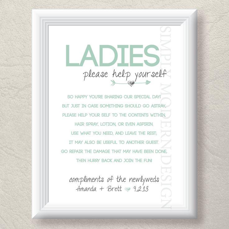Wedding Bathroom Basket Ideas: Wedding Toilet Sign