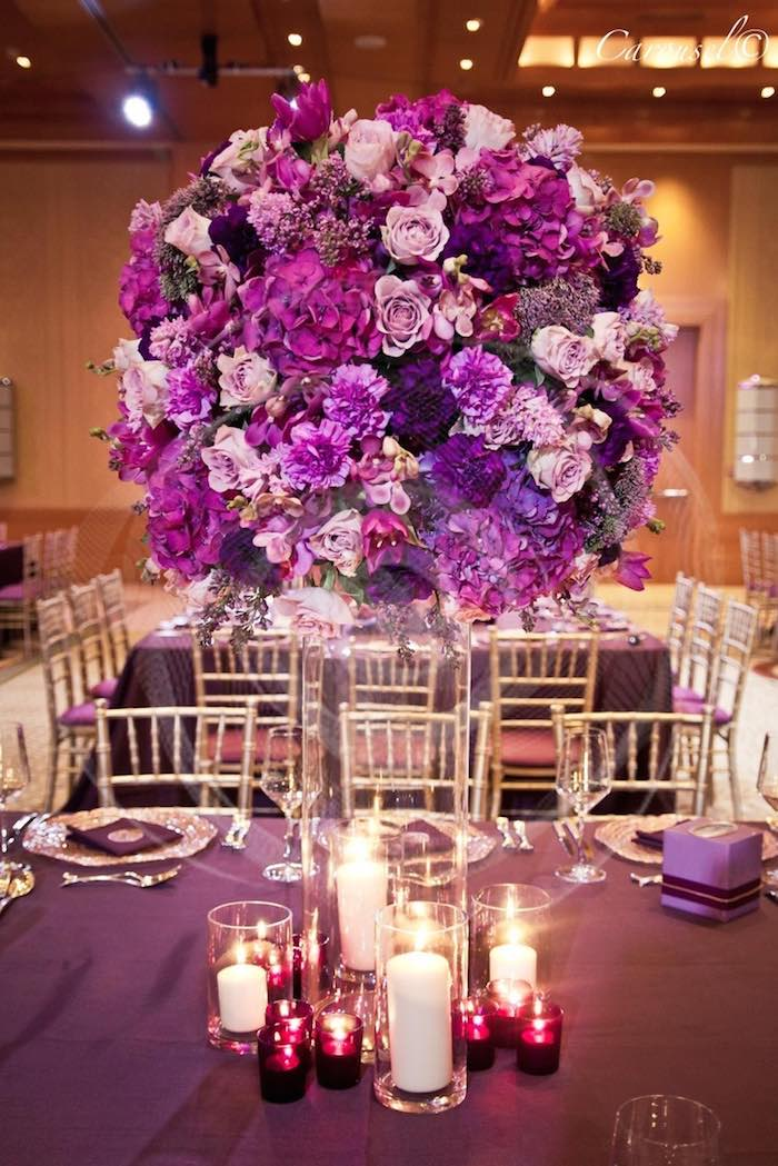 Pink and purple decorations for wedding