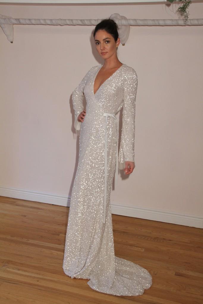 Long Sleeve Sequin Wedding Dress