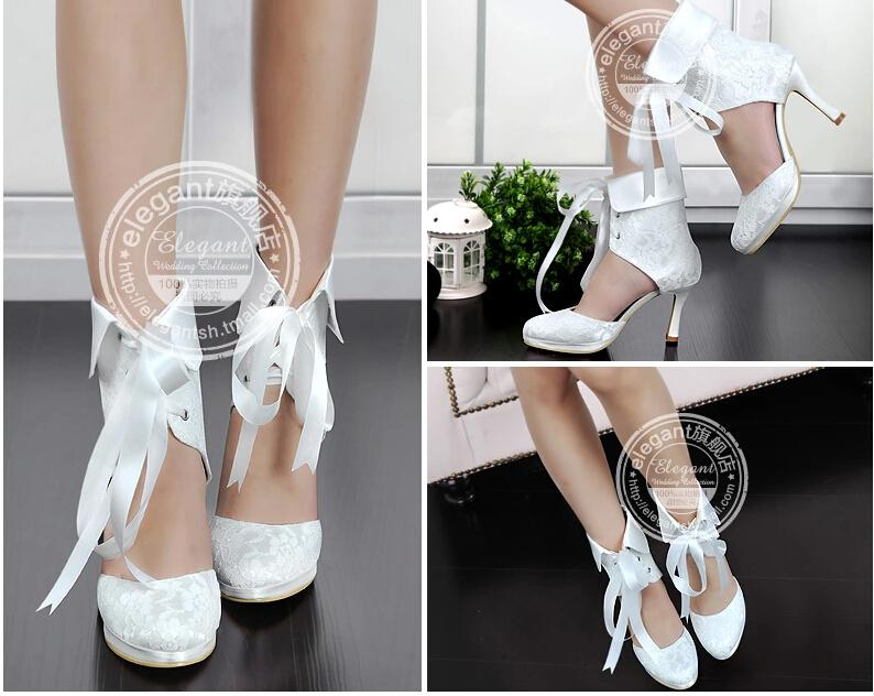 2017 New Fashion Lace Bridal Wedding Boots Shoes Ribbons