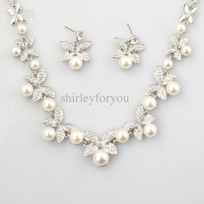 2017 Bridal Pearl Necklace Earrings Wedding Jewelry Set Nj 575