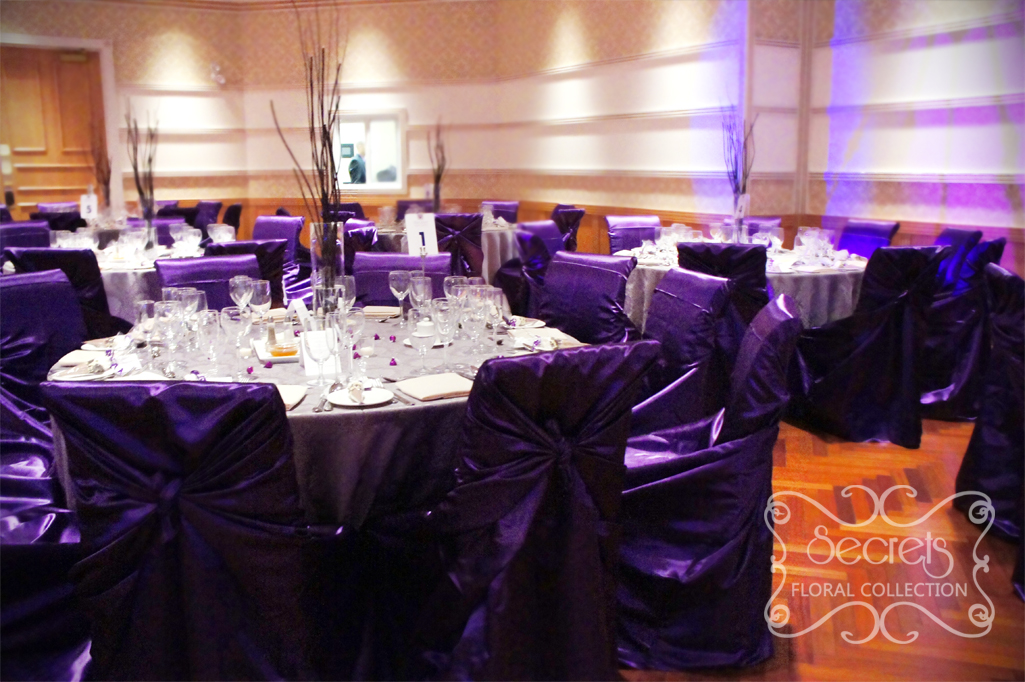Purple and silver wedding decorations a purple and pewter silver wedding reception decoration junglespirit Image collections