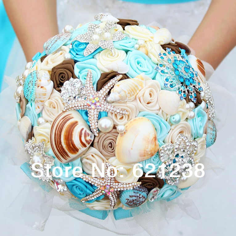 Beach theme wedding flower bouquets for Ocean themed wedding dress
