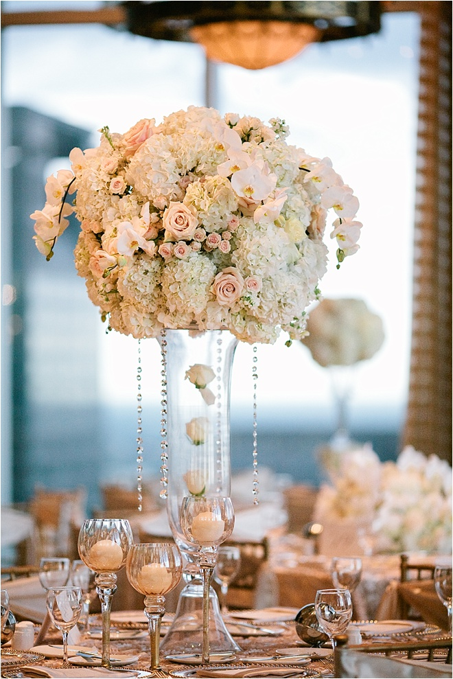 Blush and gold wedding centerpieces
