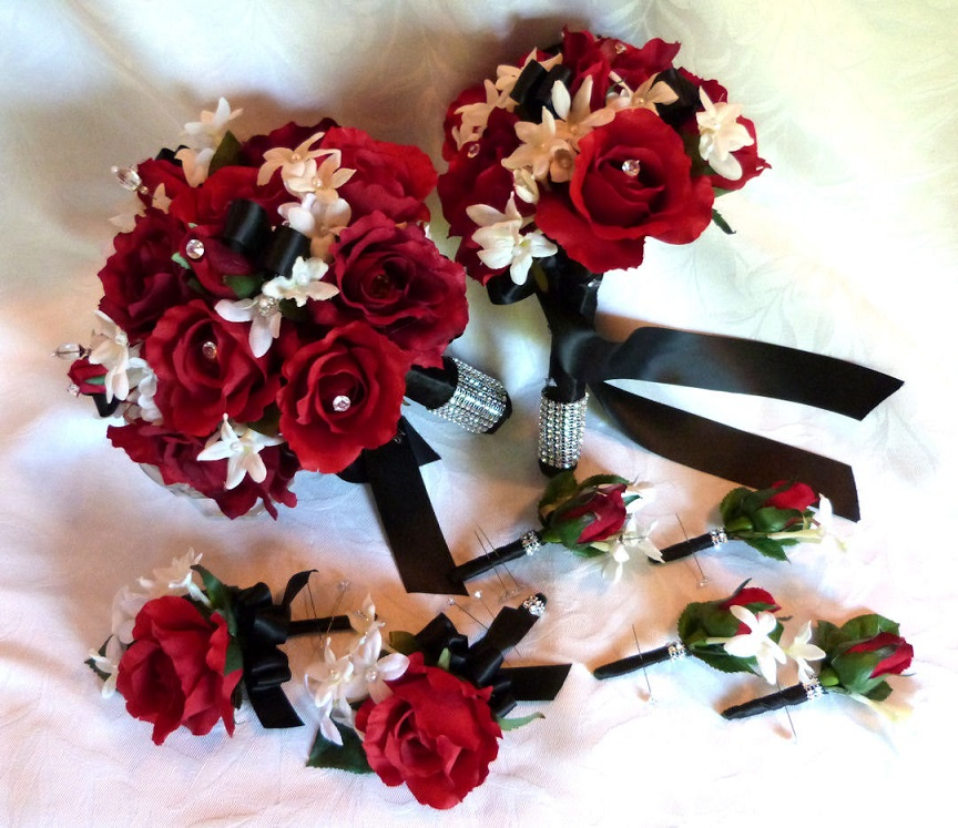 Red White And Black Wedding Flowers