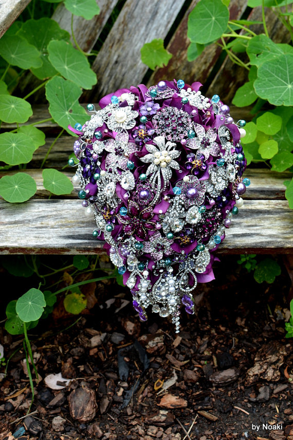 purple cascade wedding bouquets
