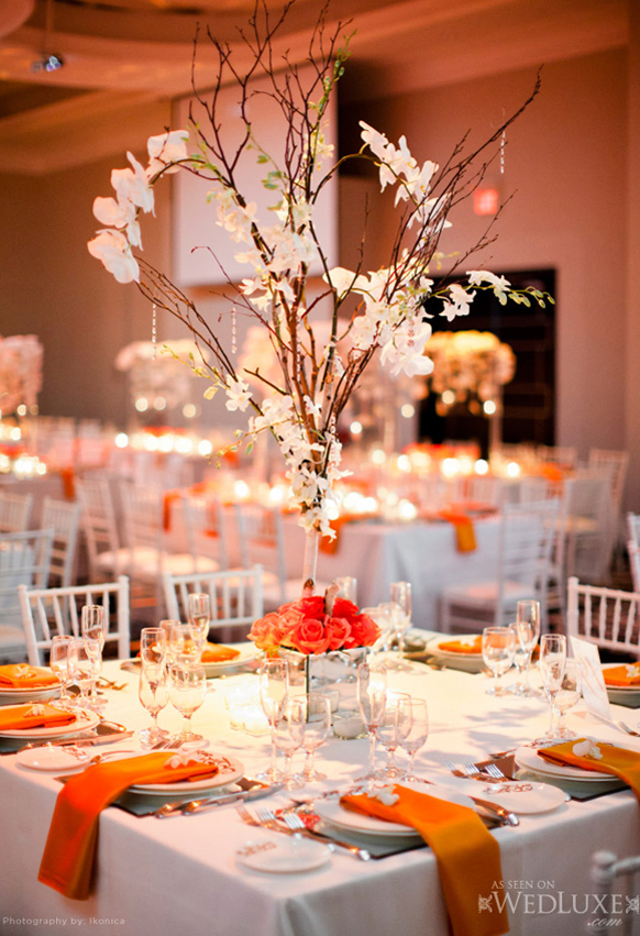 Gold branches wedding centerpieces