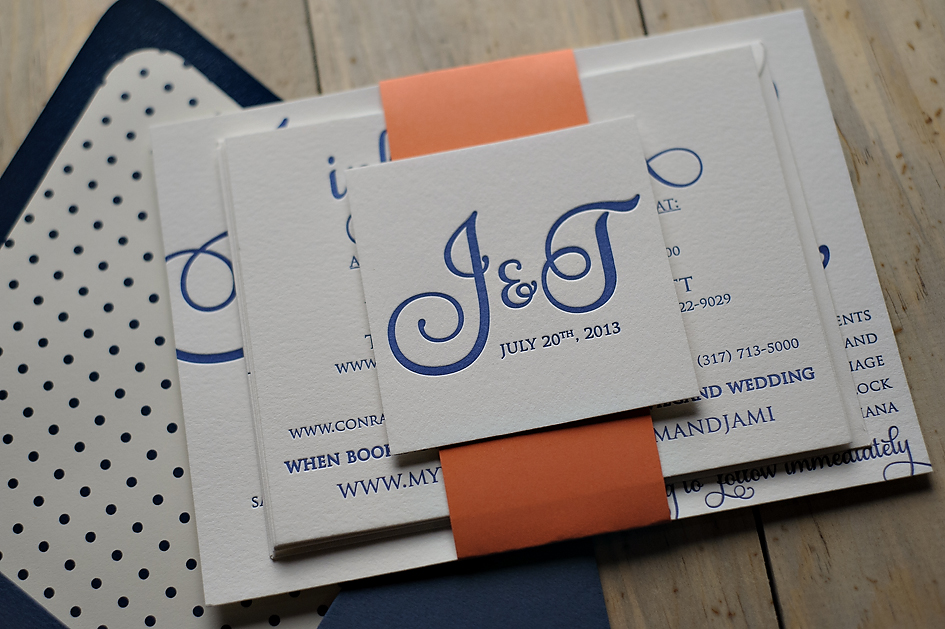 coral - Navy And Coral Wedding Invitations