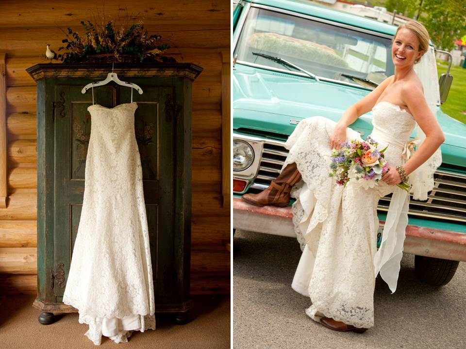 Country Style Wedding Dress With Boots