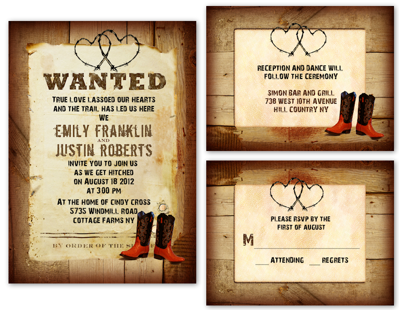 Western Wedding Invitation Wording: Country Wedding Invitation Templates Free