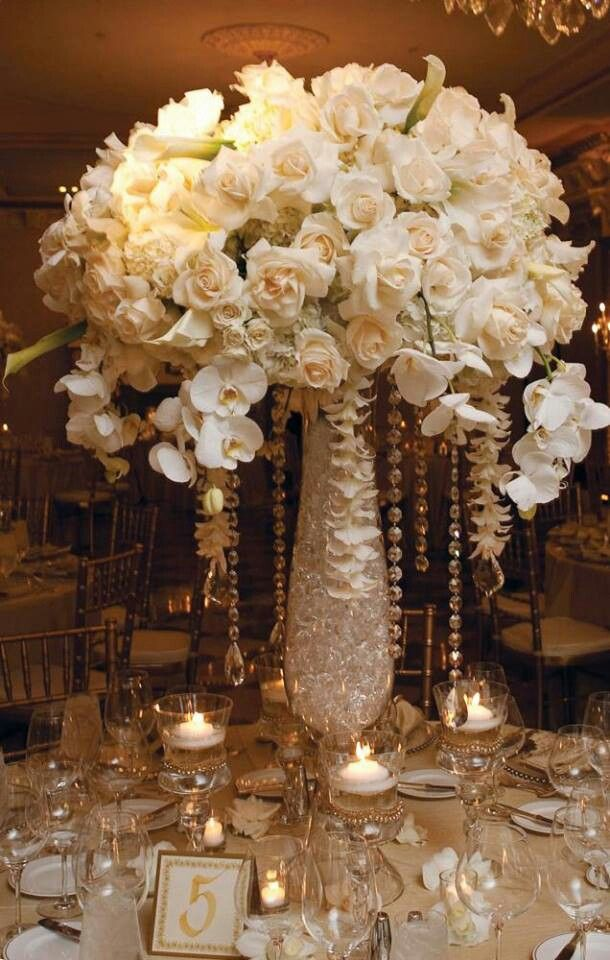 White and gold centerpieces wedding