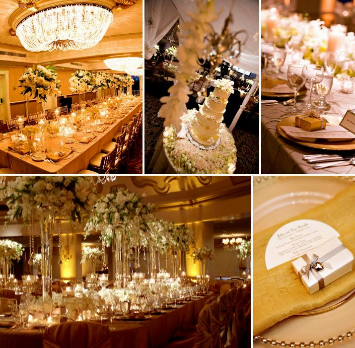 Black White Silver And Gold Wedding