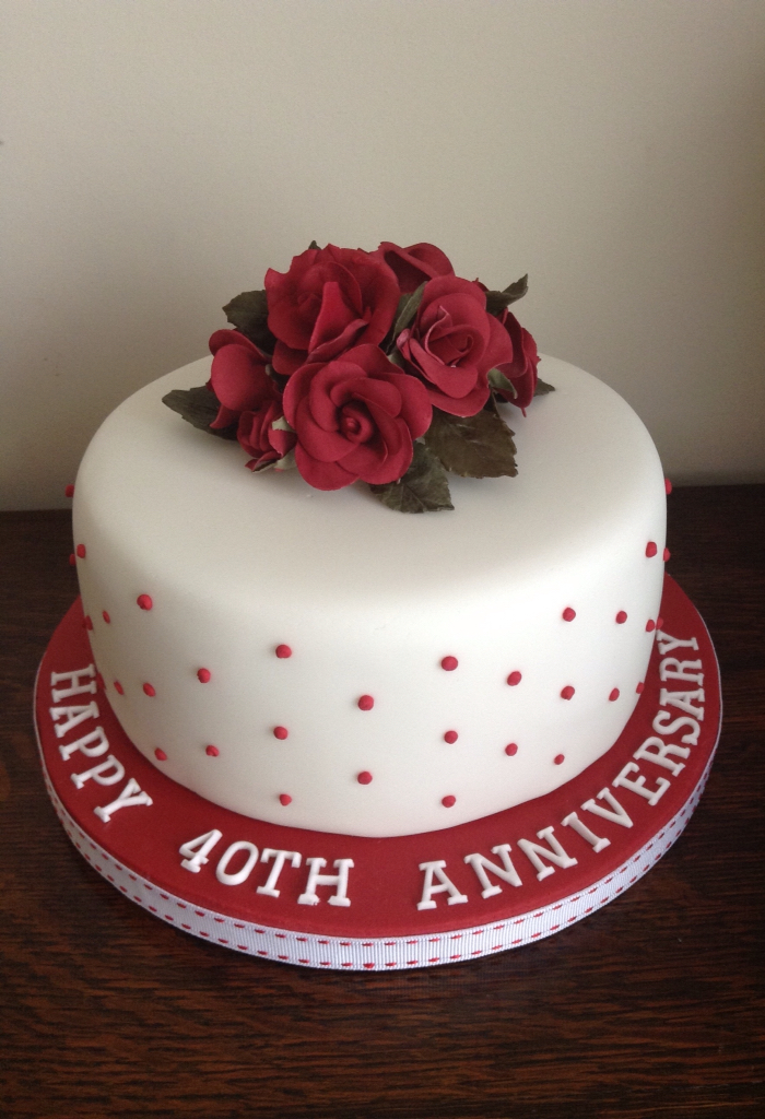 Hearts And Flowers 40th Wedding Anniversary Cake Ruby