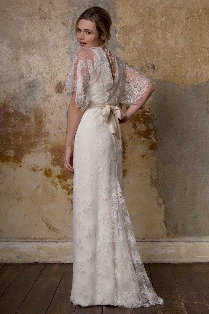 Kimono Inspired Dress W Flower Crown Quilted Bag Neon: Kimono Style Wedding Dress