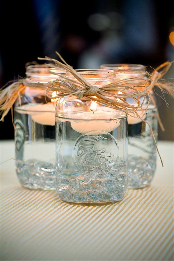Mason jar candle wedding centerpieces