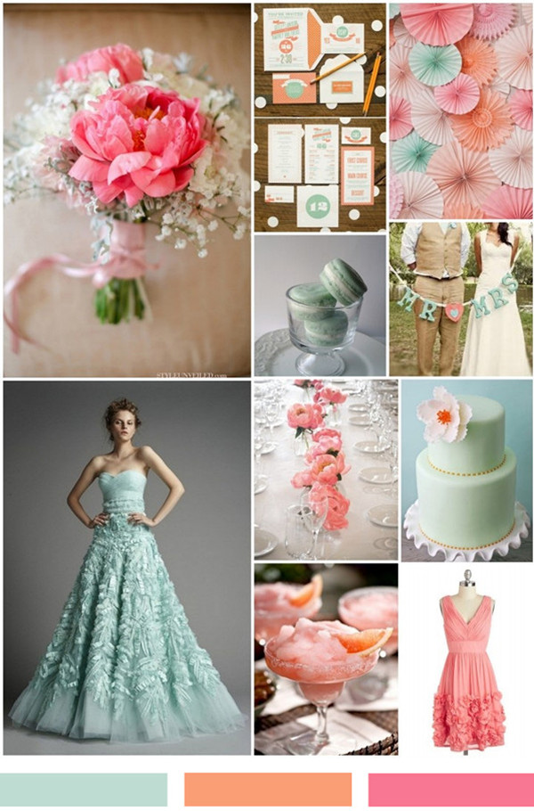 Coral And Mint Green Wedding