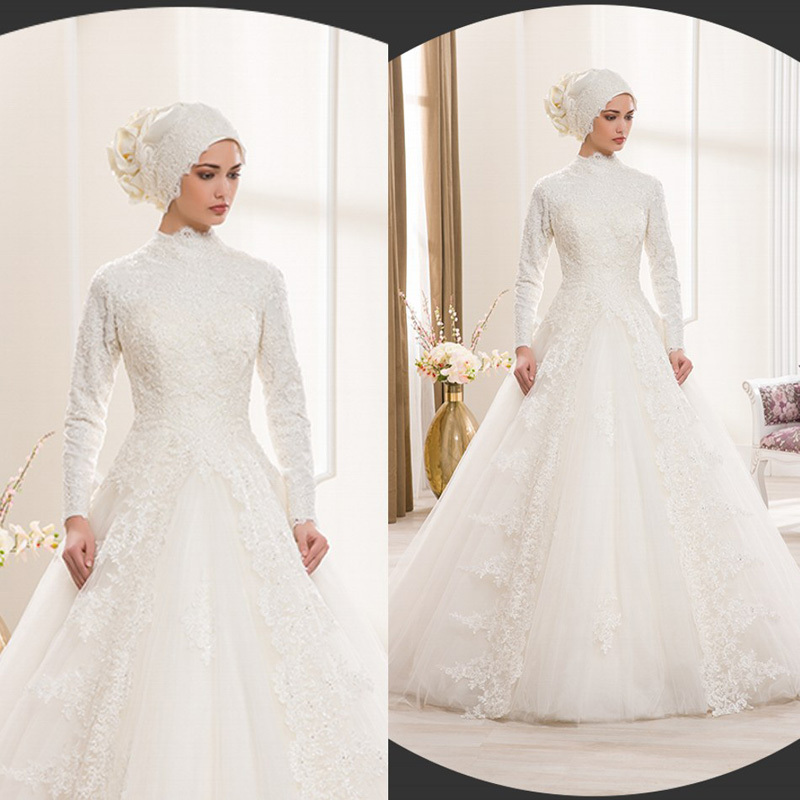 Islamic Wedding Gown: Muslim Lace Wedding Dress