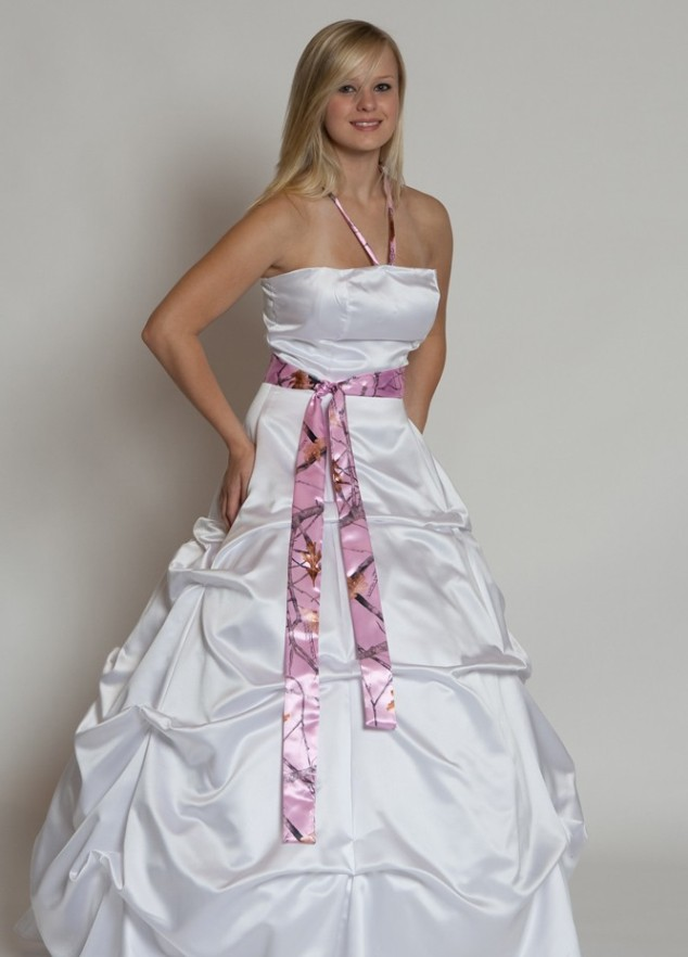 White and pink camo wedding dress