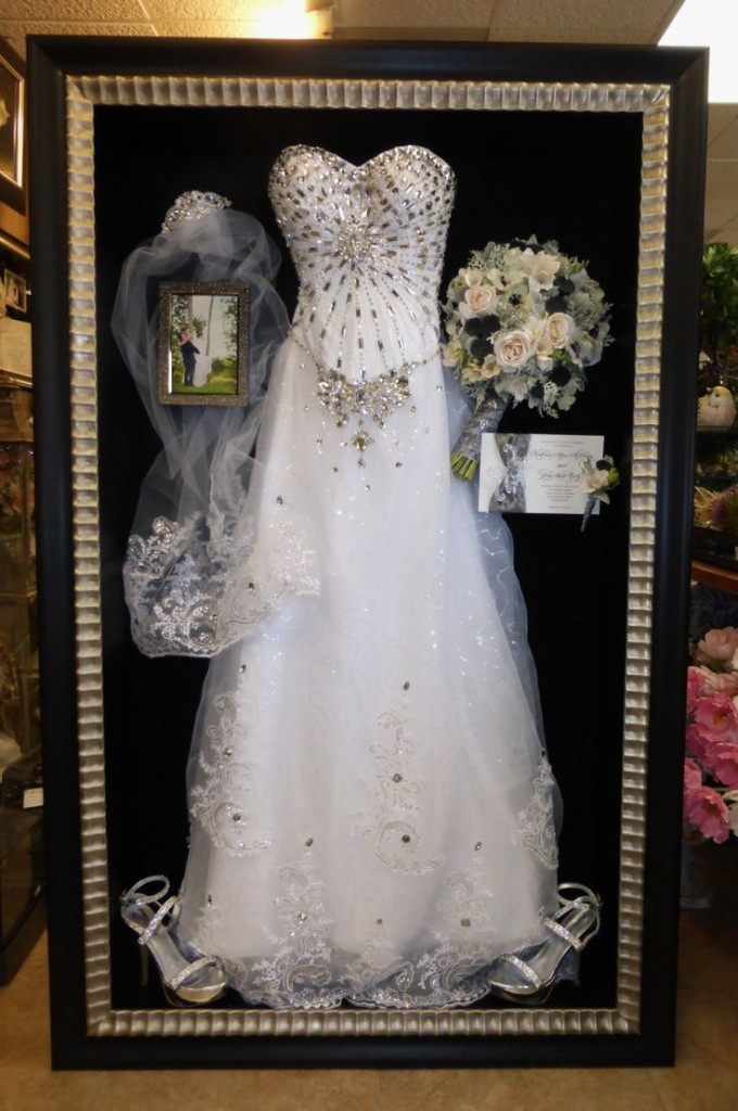 wedding dress preservation shadow box