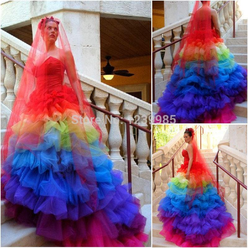 Rainbow Dress Wedding