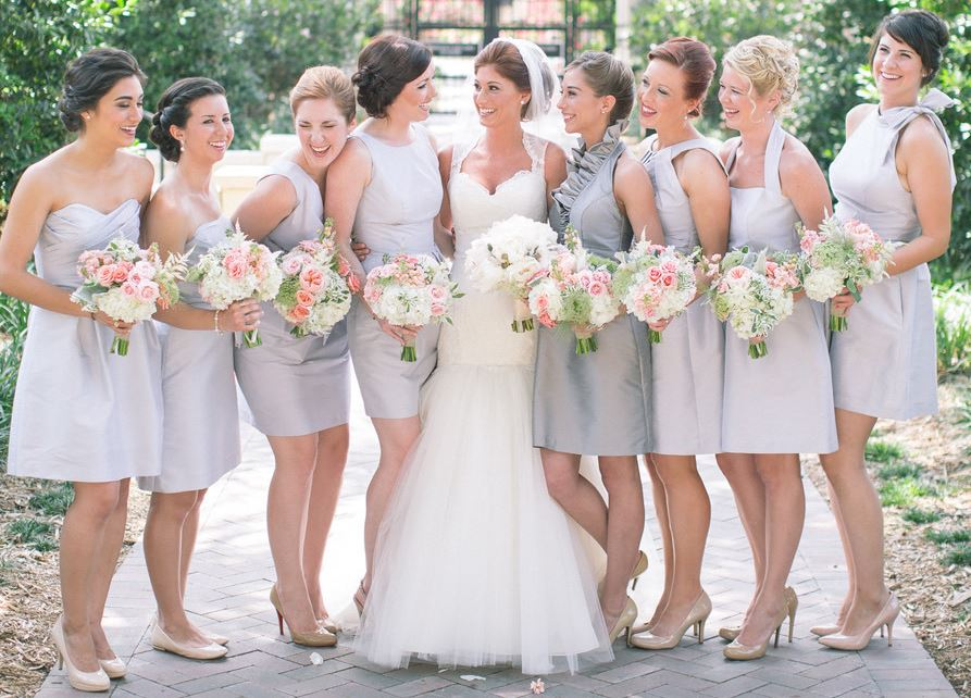 Grey And Pink Wedding Bouquets