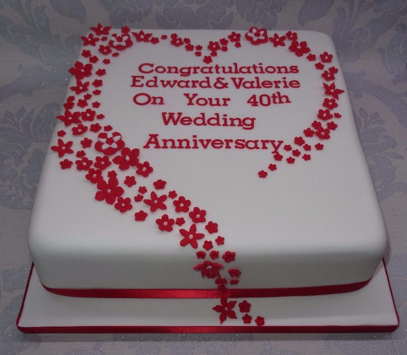 Cake Decorating Ideas For Ruby Wedding : Cake For 40th Wedding Anniversary
