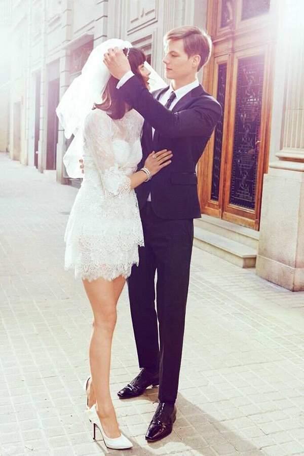 Short Wedding Dress Long Veil
