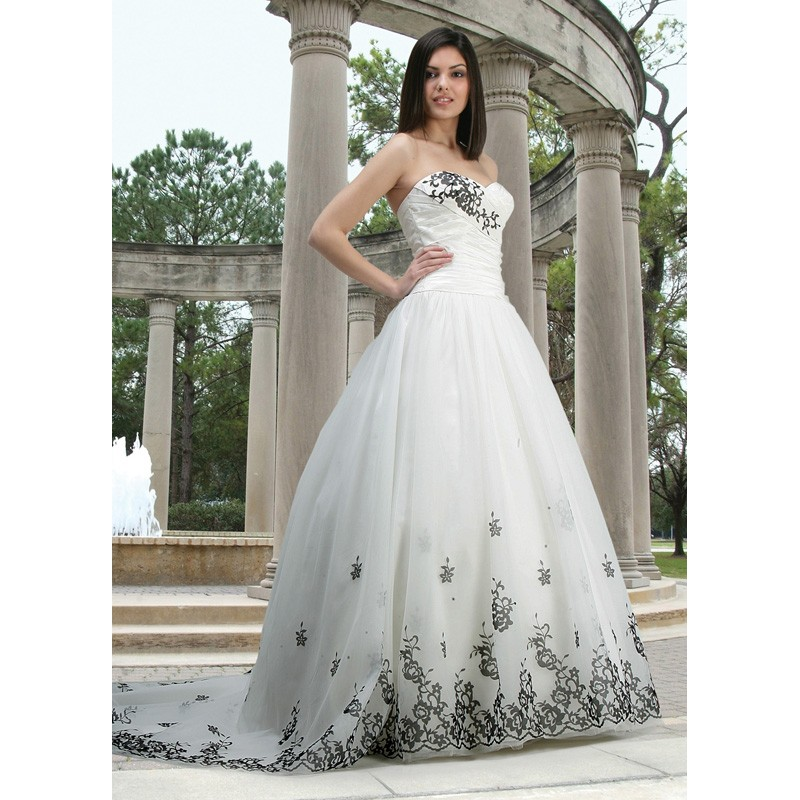 White wedding dress with black lace trim
