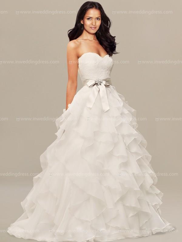 Wedding Dress With Ruffles On Skirt