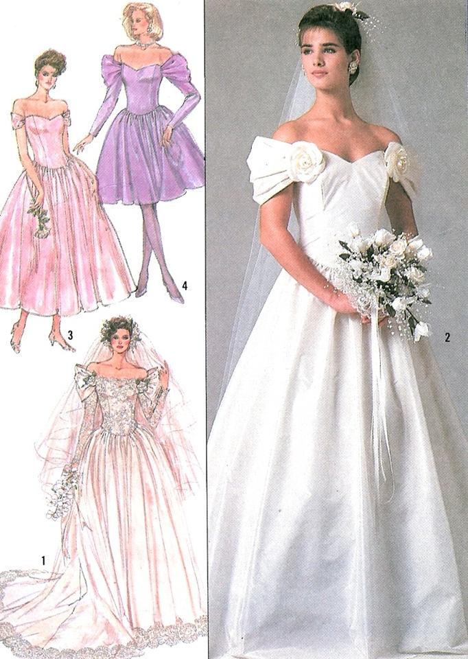 Vintage Wedding Dress Sew Pattern Princess Off Shoulder Bridesmaid 80s Dresses