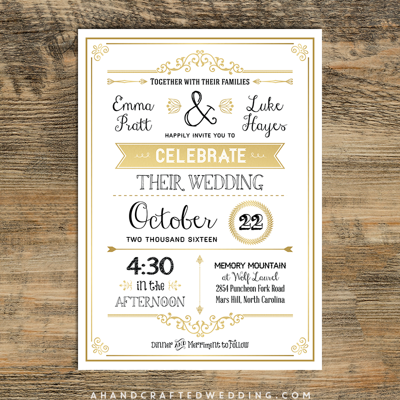 Wedding Invite Layout: Vintage Wedding Invitation Templates