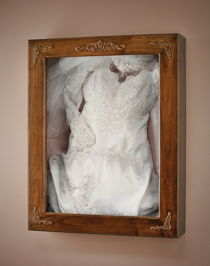 Wedding dress preservation shadow box for Where to get my wedding dress preserved