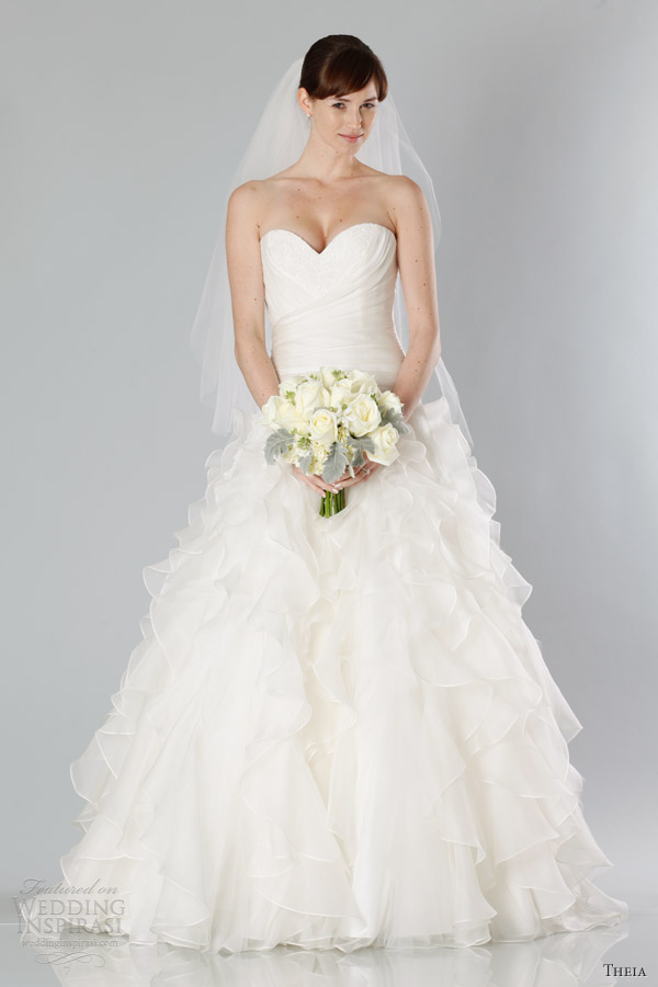 Wedding dress with ruffle skirt wedding dress collections for Wedding dress cleaning atlanta