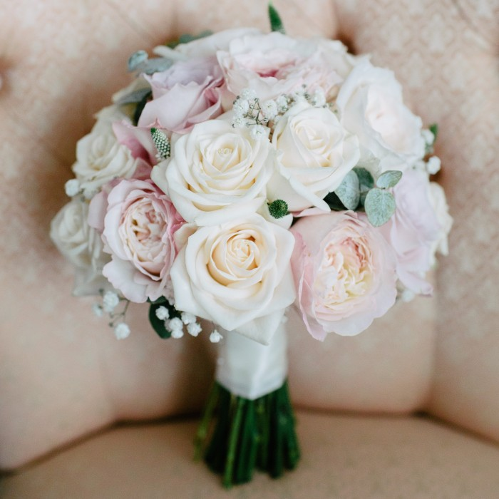 Wedding Bouquets Cream And Pink Silk Bride Bouquet Peony Flowers