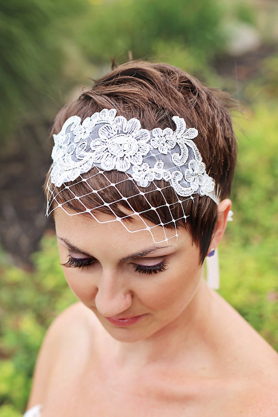 2015 Hot Selling White Birdcage Veils Pearl Face Wedding ... |Very Short Hair For Wedding Headpieces