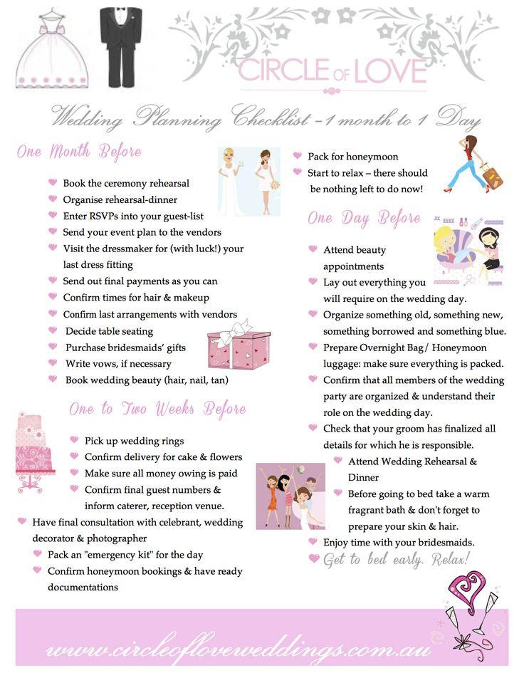 Wedding Planner Checklist Months Of Month