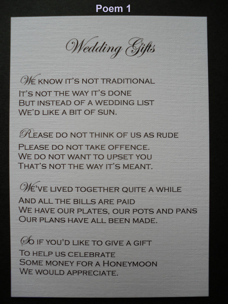 Asking For Money As A Wedding Gift: Wedding Poems For Gifts
