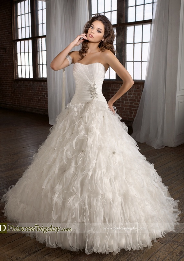 Wedding Dress With Feathers On Bottom